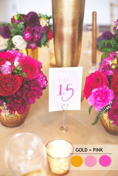 15 Fabulous Summer wedding Color Combos : gold and pink SUMMER WEDDING COLORS | Read more : http://www.fabmood.com/fabulous-summer-wedding-color-combos