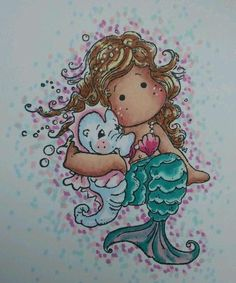 Magnolia Pearl Mermaid Tilda card topper