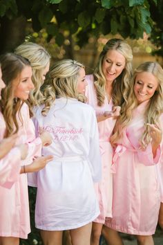 pink and white personalised bride and bridesmaids robes