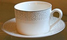 GRACE'S TEAWARE FLAT TEACUP & SAUCER SILVER METALLIC MINI DOTS NEW PORCELAIN #GRACESTEAWARE