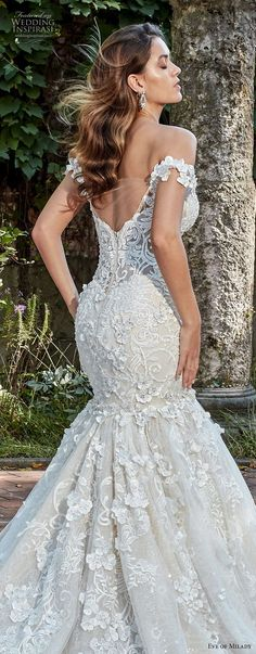eve of milady spring 2018 bridal off the shoulder sweetheart neckline full embellishment elegant glamorous mermaid wedding dress open back royal train (5) zbv -- Eve of Milady Couture Spring 2018 Wedding Dresses