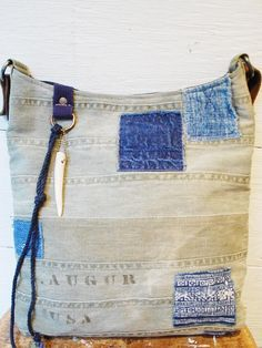 J. Augur Design vintage webbing and indigo patchwork bucket bag. Spring 2013