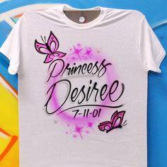Airbrush Butterfly Birthday Name T shirt by AirbrushCustoms on Etsy Airbrush Designs, Airbrush Art, Birthday Name, Princess Birthday, Happy Birthday, Cute Tshirts, Cool Shirts, Airbrush Shirts, Butterfly Birthday