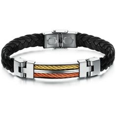 2015 New Trendy Man Genuine PU Leather Bracelet Bangle 316L stainless steel Titanium Jewelry Boyfriend Gift Hot Free Shipping