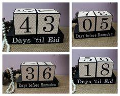 Countdown to Ramadan, Days 'til Eid Wooden Display, Eid Countdown Wood Blocks, Ramadan Gifts for Kids, Iftar Gifts, Ramadan Decoration