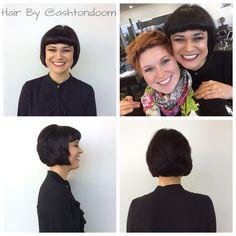 Black hair short bob and Bettie bangs!