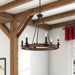 Gracie Oaks Aukerman 6 - Light Unique / Statement Wagon Wheel Chandelier with Wood Accents Rectangle Chandelier, Globe Chandelier, Chandeliers, Chandelier Lighting, Dining Chandelier, Chandelier Ideas, Pendant Lamps, Room Lights, Ceiling Lights