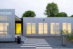 Temporäres Seminargebäude SemiTEMP der RWTH Aachen, Hahn Helten + Assoziierte, Aachen, 2014, Außenansicht, Fassade, Foto: Jörg Hempel