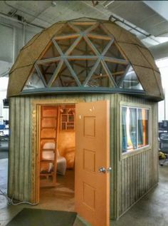 Check out this awesome listing on Airbnb: Mushroom Dome Cabin: on airbnb - Cabins for Rent in Aptos Bay Area Housing, Wood Shed, Dome House, Geodesic Dome, Facade Design, Rental Property, House In The Woods, Renting A House, Small Spaces