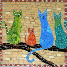 Stained glass mosaic, Gotta Be Me by Christine Brallier, #mosaics #stainedglass #art #christinebrallier #cat