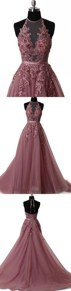 Latest Tulle and Lace Halter Long Prom Dresses Evening Party Dresses 996021579