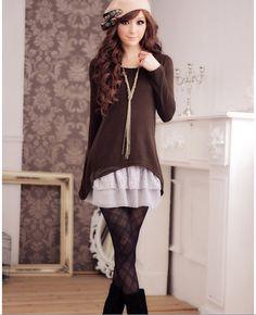 Stylish Scoop Neck Long Sleeve Long T-Shirt + Flouncing Vest Dress for Women (BLACK,ONE SIZE) China Wholesale - Sammydress.com