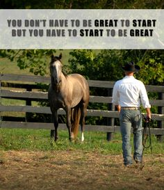 """""""You don't have to be great to start, but you have to start to be great."""" Dan James of Double Dan Horsemanship and his teammate from Road to the Horse International 2012 Photo credit: Laura Donnell"""