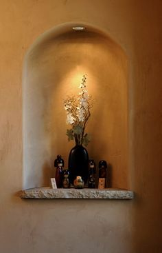 Variance Specialty Finishes: Photos of Plaster Wall Finishes Southwestern Paintings, Southwestern Home Decor, Hacienda Style Homes, Spanish Style Homes, Alcove Decor, Sheridan House, Art Niche, Entertainment Wall Units, Home Improvement Center