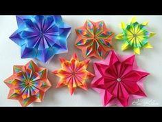 Origami Maniacs 125: Colorful Mandala - YouTube Easy Origami Flower, Origami Ball, Origami Heart, Diy Origami, Origami Flowers, Origami Paper, Paper Flowers, Origami Instructions, Origami Tutorial