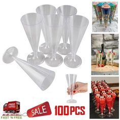 100 Clear Champagne Plastic Glasses Party Wedding 6.5 Inch Tall Toasting Flutes #OTC #EveryParty