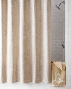French Perle Shower Curtain. Print replicates the look of French-knot embroidery. $ 58