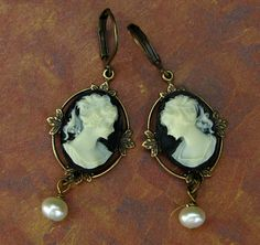 Cameo Earrings Black and Creme  Leverbacks with by Hurstjewelry, $14.00 So feminine