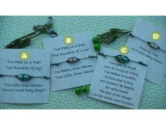 Two Peas in a Pod Thin Leather String Bracelet - Twins Baby Shower Favor. $6.88, via Etsy.