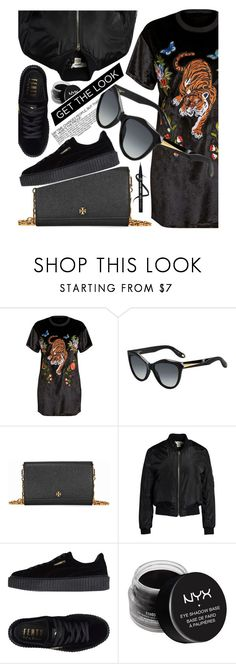 """All Black Everything"" by smartbuyglasses ❤ liked on Polyvore featuring Givenchy, Tory Burch, Sans Souci, Puma, NYX and black"