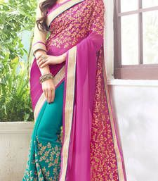 Buy Cyan blue and fuchsia embroidered georgette saree with blouse georgette-saree online