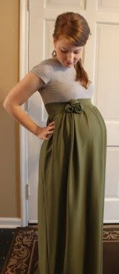 not preggers, but might want ideas someday! Maternity dress tutorial. Can make it short or long, you just need some fabric  a t-shirt.....because it is already hard enough to feel cute when you are double your regular size. And once again, NO, Im not pregnant, I just thought this was a good idea. #Cake