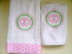 Baby Girl Bib and Burp Cloth Set by flauntthename on Etsy, $15.00