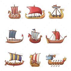 Buy Viking Ship Boat Drakkar Icons Set Cartoon Style by Ylivdesign on GraphicRiver. Cartoon illustration of 9 viking ship boat drakkar vector icons for web Viking Head, Viking Helmet, Viking Art, Viking Warrior, Boat Drawing, Ship Drawing, Ship Illustration, Viking Ship Tattoo, Boat Cartoon