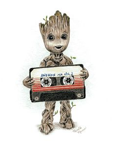 Groot With Awesome Mix Tape - Michelle Marcus Art - Marvel Universe Marvel Comics - Anime Characters Epic fails and comic Marvel Univerce Characters image ideas tips Marvel Art, Marvel Heroes, Marvel Avengers, Bd Comics, Marvel Comics, Nickelodeon Cartoons, Galaxia Tattoo, Baby Groot Drawing, Animé Fan Art