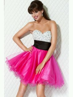 Fabulous pink, black,  and white dress