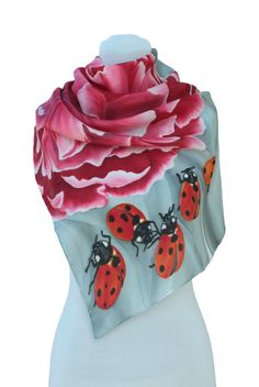 Hand painted silk scarf-paeony and ladybirdredPaintingHand