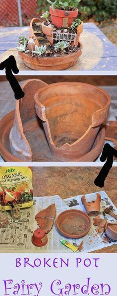 Upcycle broken terracotta pots into a magical fairy garden. #containergardening #gardenideas #garden #succulentplanter Broken Pot Garden, Fairy Garden Pots, Fairy Garden Houses, Gnome Garden, Fairies Garden, Potted Garden, Garden Planters, Garden Art, Fairy Crafts