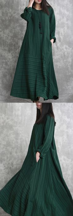 Elegant blackish green long linen dresses casual striped gown boutique patchwork caftans2