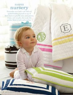 pottery barn kids - harper nursery bedding Pink for Rémy and Navy for Ryker