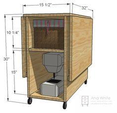 Mesa de costura para espacios pequeños, con alas abatibles y zona para guardar la máquina.