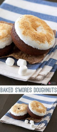 Baked S'mores Doughnuts are made with an easy chocolate doughnut that's bake. Baked S'mores Doughnuts are made with an easy chocolate doughnut that's baked instead of fried and topped with marshmallow cream and graham cracker cr. Baked Donut Recipes, Baked Doughnuts, Baking Recipes, Donuts Donuts, Easy Donut Recipe, Easy Recipes, No Bake Desserts, Just Desserts, Dessert Recipes