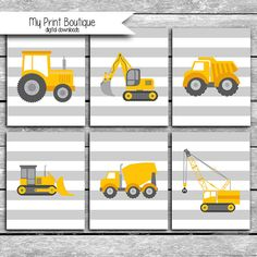 Small baby room: ideas to make this little corner special - Home Fashion Trend Construction Bedroom, Construction Birthday, Truck Nursery, Small Baby, Dump Truck, Toy Trucks, Boy Room, Printing Services, Tractors