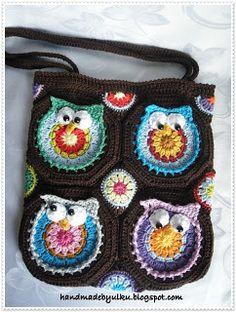 Handmade by Ülkü: Gehäkelte Eulentasche 2 / Crochet Owl Bag 2 / Tig isi baykuslu canta 2