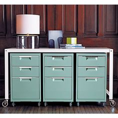 TPS mint file cabinet in office furniture | CB2- I like this set of file cabinets under the desk, though I wonder what the color is like in person