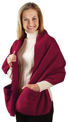 Fleece Shoulder Wrap with Pockets
