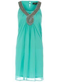 Mint embelished notch dress