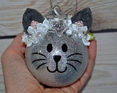 Personalized Christmas Ornament Cat Ornament Kitty ornament Glitter Eyelash Stocking Stuffer Babies First Christmas Pet Gift Cute Christmas Gifts For Pets, Christmas Ornament Crafts, Personalized Christmas Ornaments, Babies First Christmas, Christmas Cats, Xmas Crafts, Homemade Christmas, Christmas Bulbs, Christmas Decorations