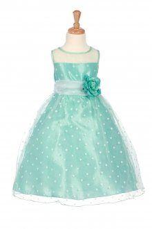 Mint Organza Polkadot Flower Girl Dress