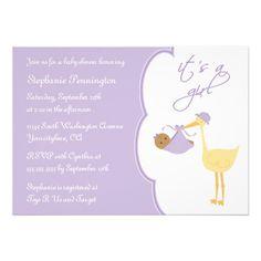 It's a girl purple stork baby shower invitation - #colors #purple #lavender #stork #baby #shower #invitations #zazzle