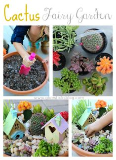 Cactus Fairy Garden: make EveryDrop of water count with this darling cactus & succulent fairy garden. AD