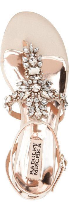 Badgley Mischka 'Cara' Crystal Embellished Flat Sandal