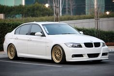 Gold wheels on White BMW E90