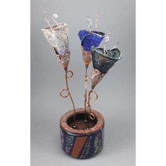 Fantasy Flora - Alien Fiber Flowers Arrangement in Copper Purple Black No. 134