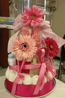 Diaper Cake-made two of these before before; each mother LOVED them!!! Best baby shower gift ever