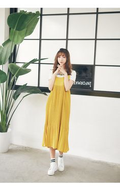 Korean Fashion - Pleated strap dress (Black only) - AddOneClothing - 2